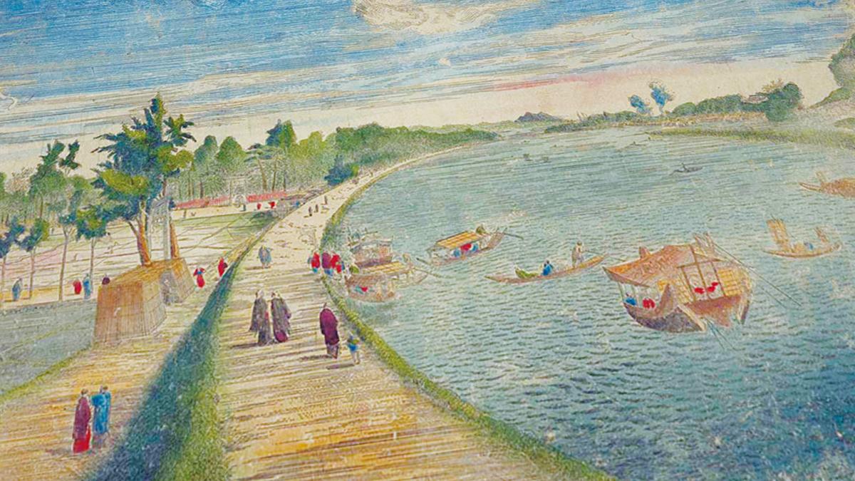「三囲景」 司馬江漢画 1783年 (出典:国立国会図書館)